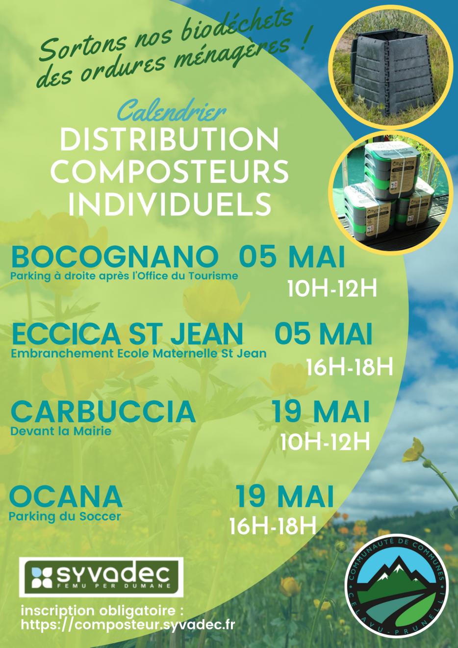 Calendrier de distribution de composteurs individuels sur le mois de mai 2021