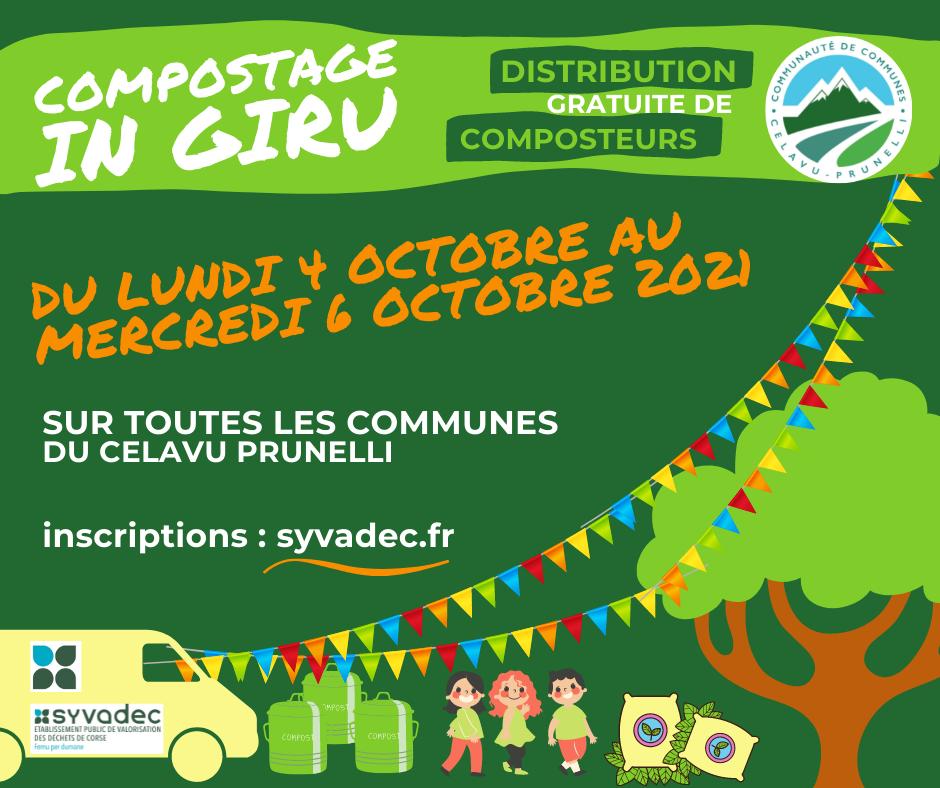 Compostage IN GIRU ! Distribution gratuite de composteurs sur tout le territoire communautaire du 4 au 6 octobre 2021